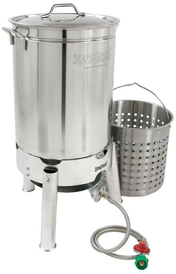 Bayou Classic 44 Qt Stainless Boil Steam Kit Outdoor Cooking Manual Propane