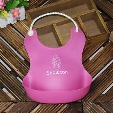 Kids Baby Infants Waterproof Cute Silicone Bibs Lunch Bibs 4 Color Wholesale L1