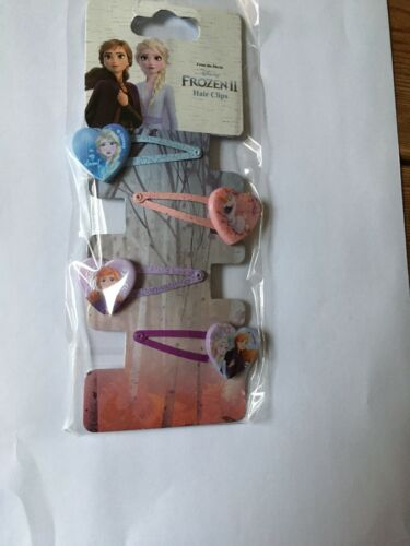 4 x DISNEYS FROZEN 2 Hair clips with character hearts  NEW