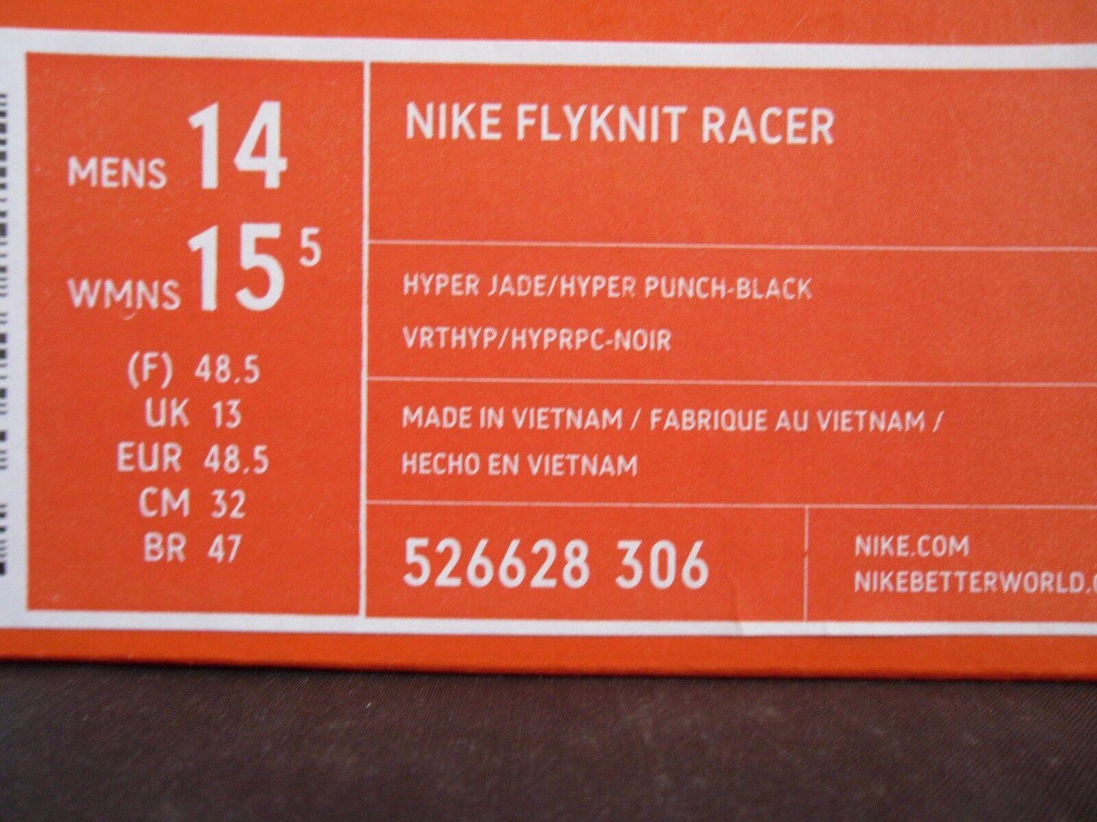 Nike racer flyknit racer Nike hyper jade-hyper punch-schwarz sz 14 [526628-306] 04b6de