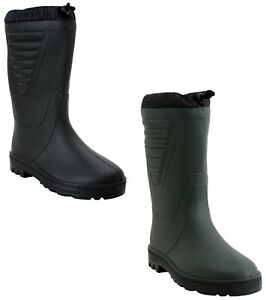 Mens womens Warm Fur Lining Waterproof Fishing Wellington Snow Rain Boots UK4-12