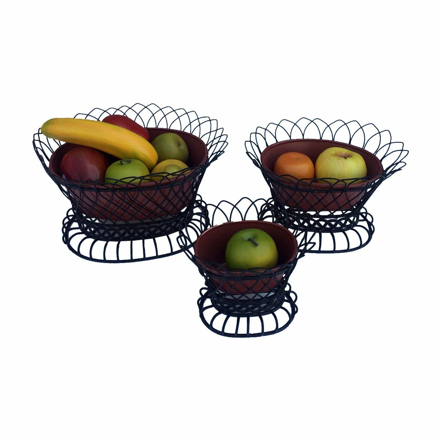 GiftBay Metal Pot  Basket in Set of 3 Pieces, Strong Detachable Wire Cage