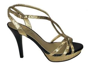 Marc-Fisher-TooHot-Women-039-s-Gold-Black-High-Heel-Shoes-size-9