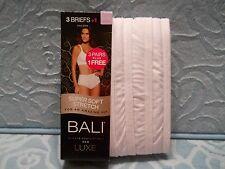 Bali 3-pk + 1 Luxe Super Soft Stretch Brief Panties K882B1-Women's White Sz.6/M