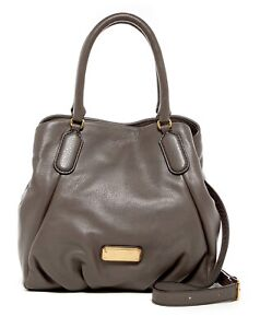 NWT-Marc-Jacobs-New-Q-Fran-Leather-Satchel-Shoulder-Bag-Tote-GREY-100-AUTHENTIC