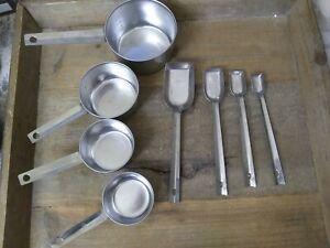 Vintage-Metal-Measuring-Cups-Ecko-1-Cup-1-2-1-3-1-4-Stainless-Steel-SPOONS