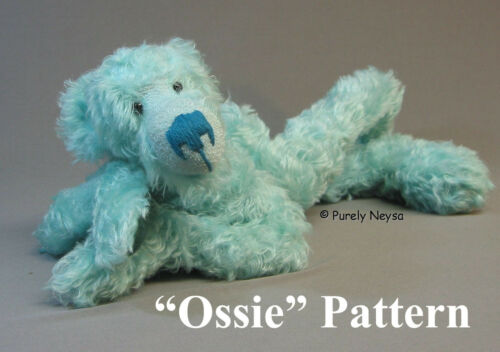 Mohair/Plush Ossie Teddy Bear PATTERN by Neysa A. Phillippi of Purely Neysa