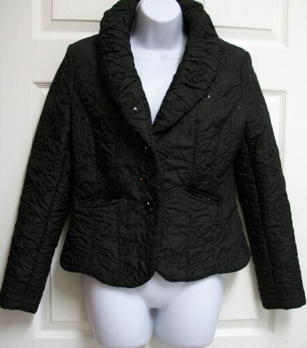 Joanie Rhinestone S Sequin Char Black Puffer Quilted Jacket Cocktail Peplum Silk XfqrXwTO