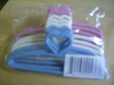 Cross Stitch 2 Sets of 9-3.25 x Pink White /& Blue Mini Plastic Hangers Doll