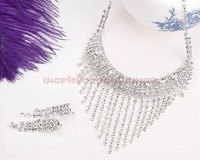 Fashion Wedding Party Jewelry Set Bridal Crystal Rhinestone Earrings Necklace Se