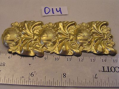 """Vtg HUGE 4"""" Tall Brass Ornate Art Nouveau Jewelry Finding Detail Stamping Craft"""