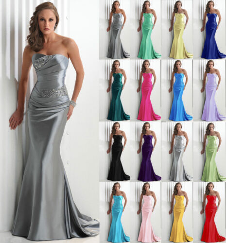 Long Strapless Evening Bridesmaid Dresses Prom Dress Formal Party Ball Gowns6-18
