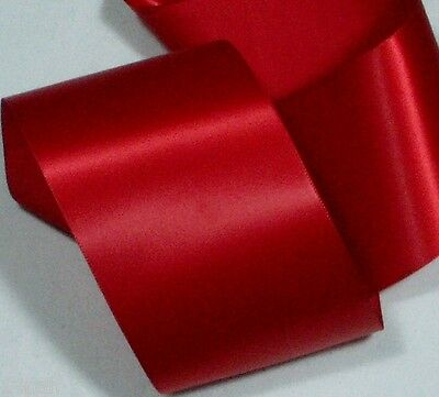 """Single Sided Satin Ribbon RED 72mm or 3"""" wide x 5 metres New Blanket Binding"""