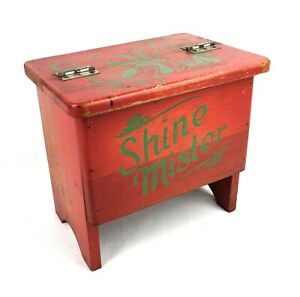 Vintage-Hand-Painted-Shine-Mister-Shoe-Shine-Wooden-Box-Great-Paint