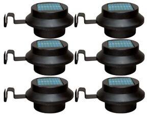 Nouveau 6 X Noir Panneau Solaire Del Jardin Clôture Mur Gouttière Lampe Path Lights-afficher Le Titre D'origine