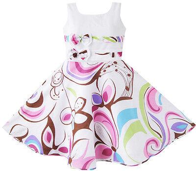 Mädchen Kleid Lila Paisley Blume drucken Doppelklicken Bogen Binden Kids