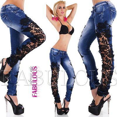 Hot Sexy Womens Slim Fit Skinny Lace Crochet Jeans Size 6 8 10 12 14 XS S M L XS