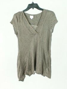 Anthropologie 9-H15 STCL Striped Navy Brown V-neck Tee Top Blouse Size Small