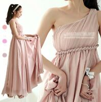 Greek Goddess Oblique Shoulder Pleated Long Chiffon Dresses For Lady Bridesmaid