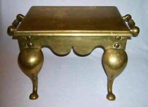 Antique-Victorian-Solid-Brass-Kitchen-HEARTH-FIREPLACE-034-FOOTMAN-TRIVET-034-England