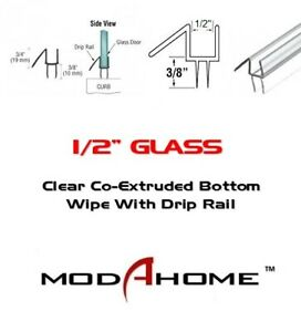 """31 in long CRL Co-Extruded Clear Bottom Wipe with Drip Rail for 1//4/"""" Glass"""