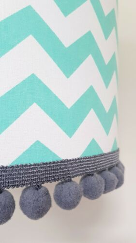 Mint /& White Chevron Fabric Lampshade Finished With A Grey Pom Pom Trim
