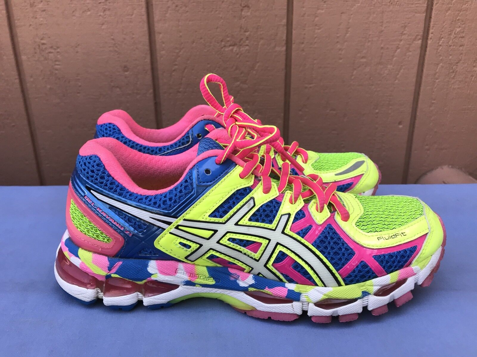 EUC RARE ASICS GEL KAYANO 21 RUNNING SHOES SIZE US 6.5 blueE PINK YELLOW T4H7N A5