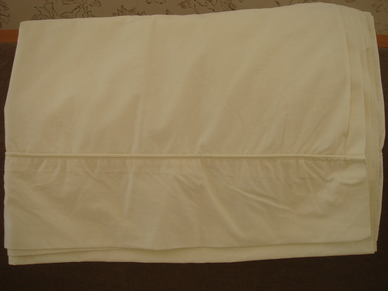 Vintage Wamsutta 100% Soft Combed Cotton Sheets Single Twin Ivory Fitted Flat