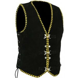Men-039-s-Motorcycle-Harley-Style-Spanish-Braid-Suede-Vest-with-Clips-Black-Yellow