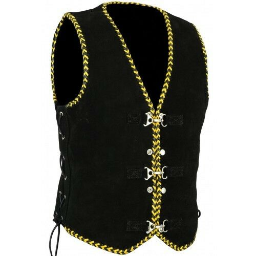 Men/'s Motorcycle Harley Style Spanish Braid Suede Vest with Clips Size S 5XL