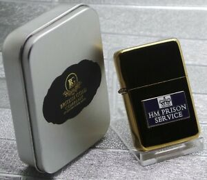 HM-Prison-Service-Gold-Cigarette-Cigar-Lighter-metal-crest-gift-case-Officer