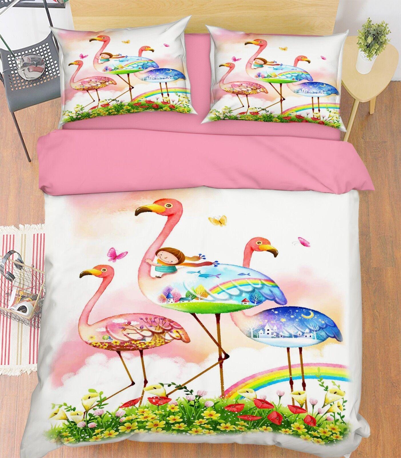 3D Kid Cartoon Heron7 Bed Pillowcases Quilt Duvet Cover Set Single Queen King CA