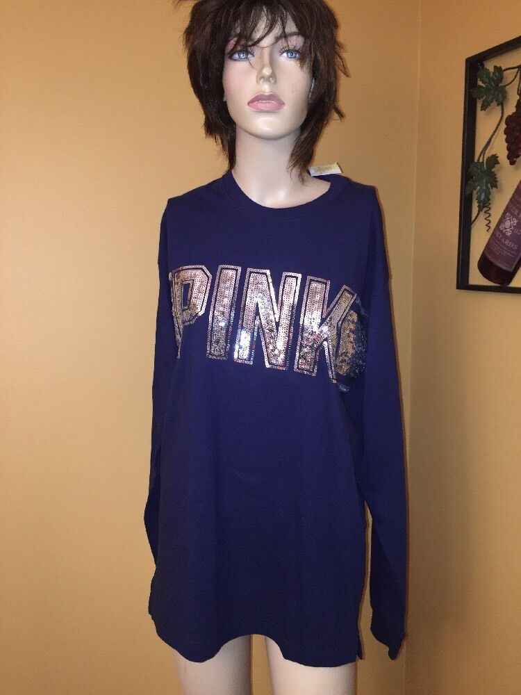 Victorias Secret Pink Sequins Bling Long Sleeve Campus Crew Tee In NAVY Small