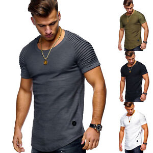 Men-Casual-Pleated-Short-Sleeve-Tops-Round-Neck-Slim-Fit-T-Shirt-Blouse-Shirts