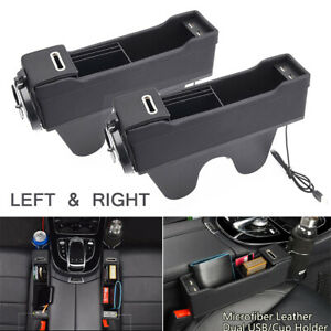 Black-Leather-amp-ABS-Dual-USB-Seat-Gap-Storage-Box-Cup-Holder-Car-Interior-2pcs