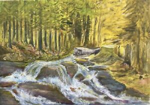 Naturalist-fir-forest-with-River-Stream-Oil-Natural-50-x-70-cm