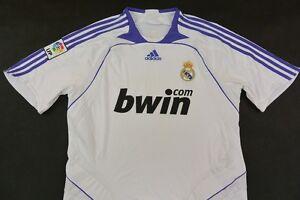 27b0356b8fa Galacticos 2007-2008 adidas Real Madrid Home Shirt Jersey SIZE L ...