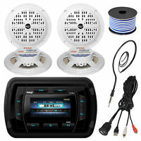 """Pyle Marine Bluetooth USB Radio, 5.25""""Speakers and Wiring, Antenna, USBAUX Cable"""