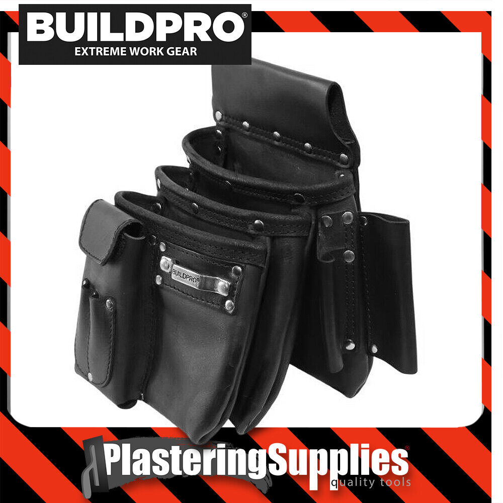 BuildPro Nail Bag 3 Large Pocket Leather Heavy Duty XL SERIES Pouch LBNBS3B-3XL