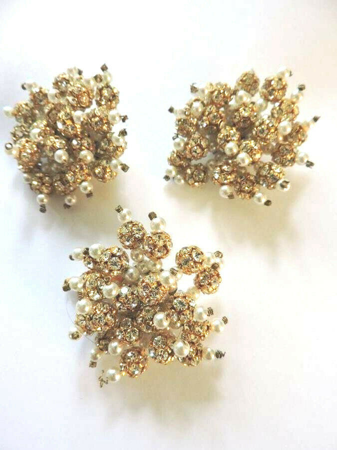 Stunning Vintage Crystal Rhinestone Faux Pearl Go… - image 2