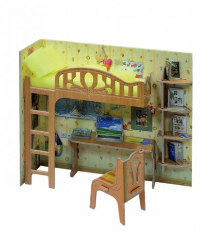 Corner Of Schoolboy and Home Decor Dollhouse Furniture Doll Cardboard Model Kit