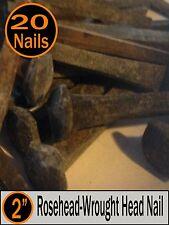 "(20) 2"" - Decorative Wrought Rose Head ""Patina"" Nails - Historic Antique - 6d"