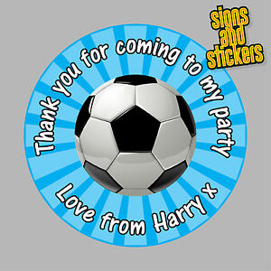 40-Personalised-Football-Party-Stickers-Bag-Seals-Invites-foot-ball-footy-blue