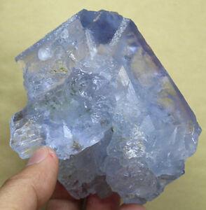 1-1LB-Rare-Natural-CLEAR-BLUE-Fluorite-Crystal-Cluster-Specimen-healing-501g
