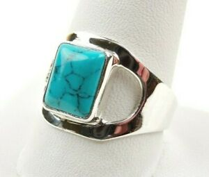 Sterling-Silver-3-5-ct-Turquoise-Cabochon-Modern-Ring-Free-Gift-Packaging