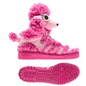 on sale 78ce0 61b43 Image is loading Adidas-x-Jeremy-Scott-Poodle-Pink-Dog-Shoes