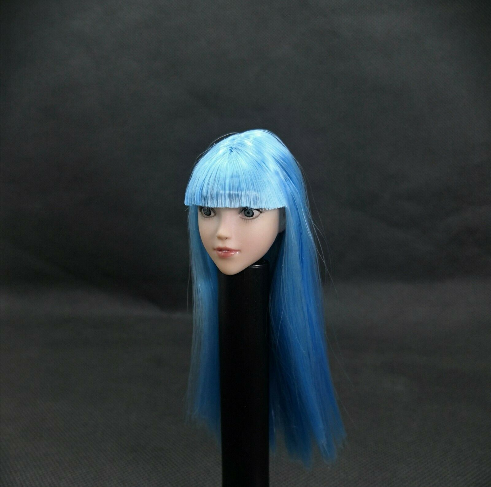 1 6 Scale Beauty Anime Girl Head Carving With bluee Hair Fit 12'' Pale Figure