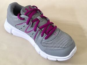 quality design aaeb6 ad5cd Details about Women UA Under Armour Thrill 2 Training & Running Shoes  Gray/Purple 1273956-036