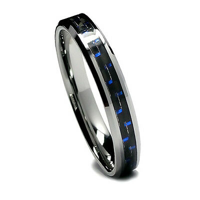 5MM Womens Tungsten Ring, Wedding Band Black and Blue Carbon Fiber, High Polish