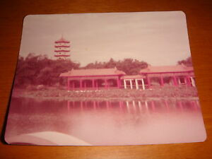 Singapore-1973-Color-Photograph-View-at-old-Chinese-Garden-Faded-Used